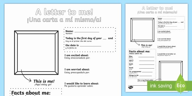 Spanish Phonics Worksheets New A Letter to Myself Worksheet Worksheet English Spanish A