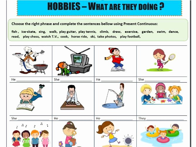 Spanish Present Progressive Practice Worksheet Beautiful Present Continuous Hobbies