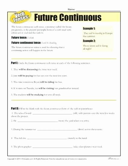 Spanish Present Progressive Practice Worksheet Lovely Future Perfect Verb Tense Worksheet Worksheets Spanish