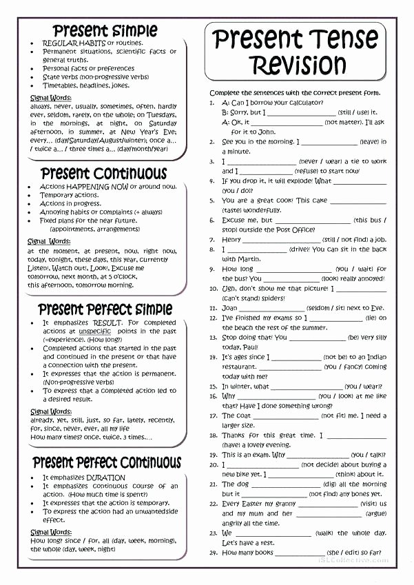Spanish Present Progressive Worksheets Exercises 2 Write Sentences In Present Perfect Simple
