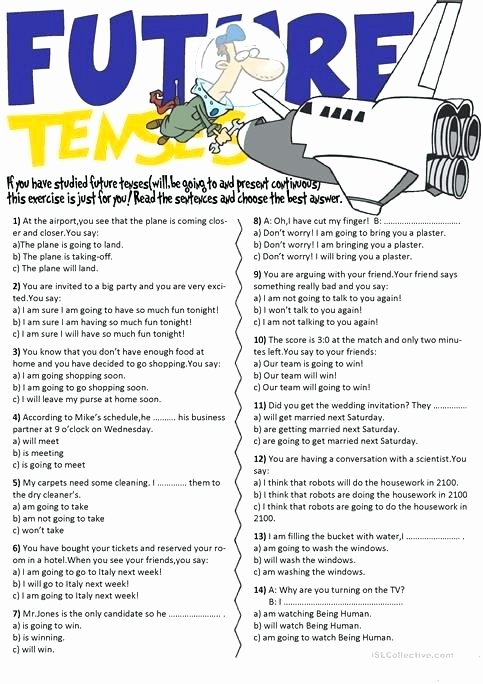 Spanish Present Progressive Worksheets Future Tenses Going to and Present Continuous 1 Tense