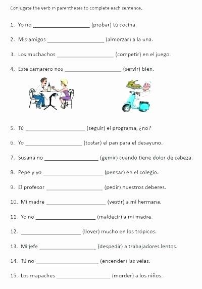 Spanish Present Progressive Worksheets Simple Spanish Worksheets