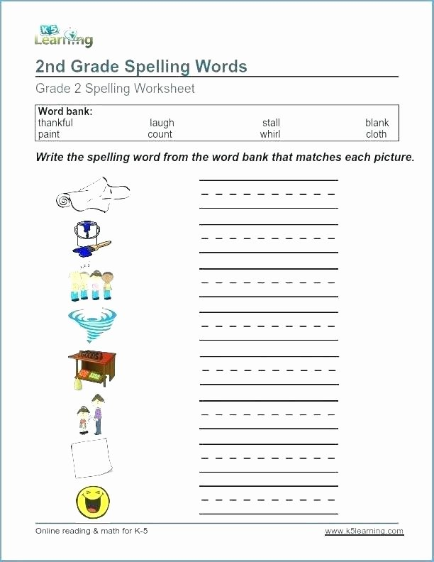 Spelling Worksheets 3rd Grade Second Grade Spelling Words Worksheets