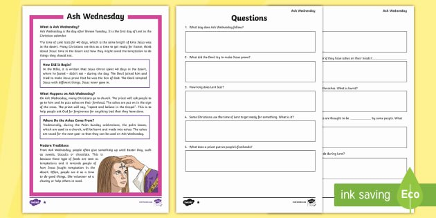 Spring Comprehension Worksheets ash Wednesday Differentiated Prehension Worksheets ash