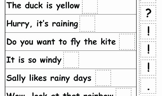 Spring Comprehension Worksheets Punctuation for Kindergarten Worksheets