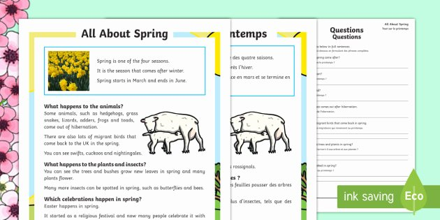 Spring Comprehension Worksheets Spring Differentiated Reading Prehension Activity English