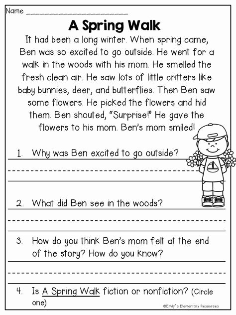 Spring Comprehension Worksheets Spring Fling Writing & Literacy Activities