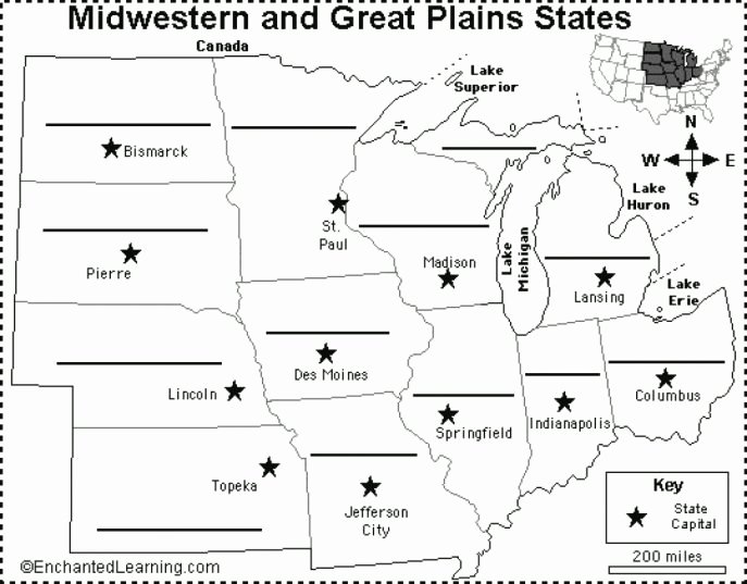 State Capitals Printable Quiz Printable Midwest Us States Map Quiz Learn the States