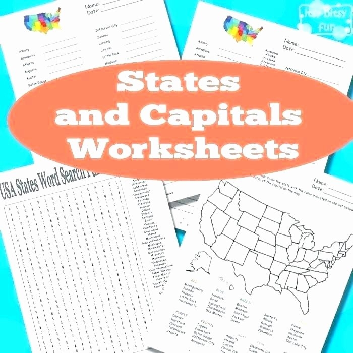 State Capitals Quiz Printable Color the States Worksheet Twisty Noodle State Capitals