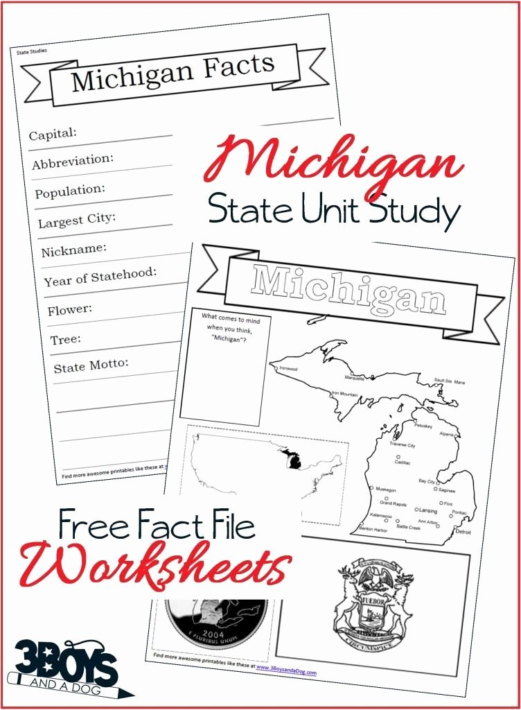 State Capitol Worksheets Michigan State Fact File Worksheets