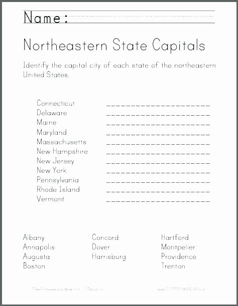 States and Capitals Matching Worksheet States and Capitals Map Worksheets