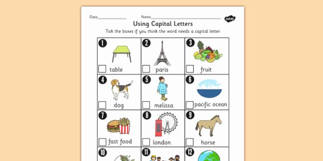 States and Capitals Quiz Worksheet Using Capital Letters Worksheet Primary Resources