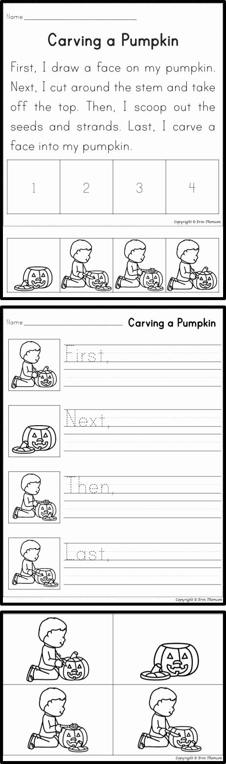 Story Sequence Pictures Worksheets Sequencing Story Carving A Pumpkin