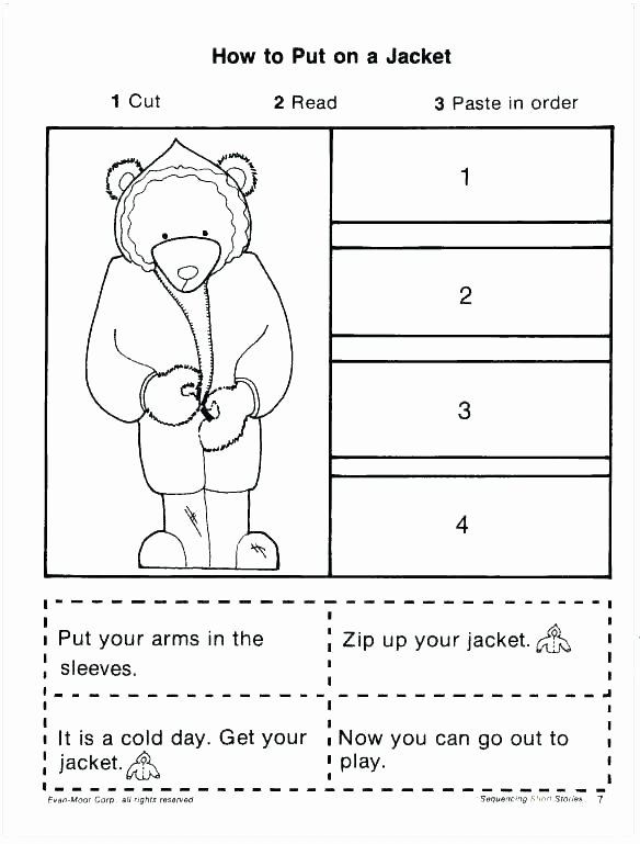 Story Sequence Worksheets for Kindergarten First Grade Sequencing Worksheets