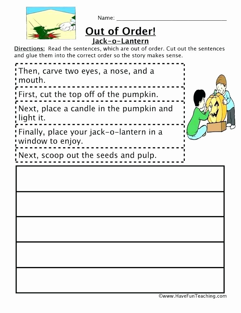 Story Sequencing Worksheets for Kindergarten Sequencing Worksheets 1st Grade