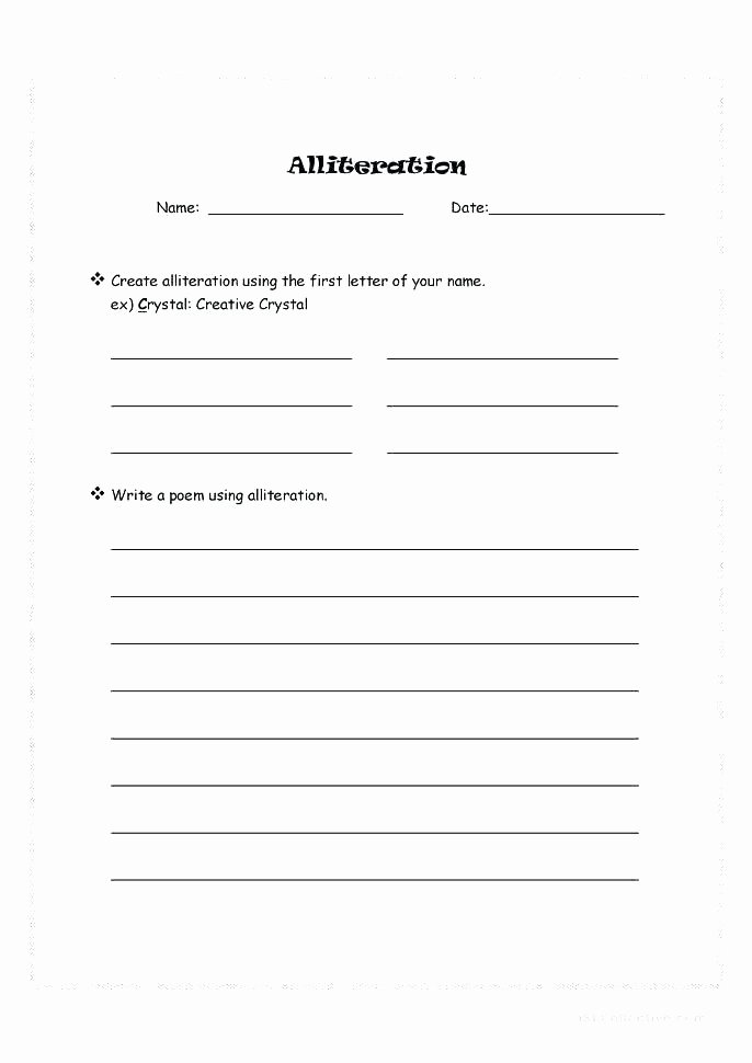 Subject Predicate Worksheet 6th Grade Alliteration Worksheets for 6th Grade