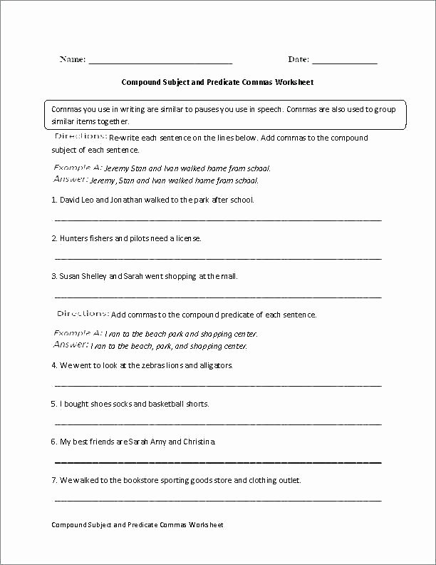 Subject Predicate Worksheet 6th Grade Free Printable Subject and Predicate Worksheets Subjects