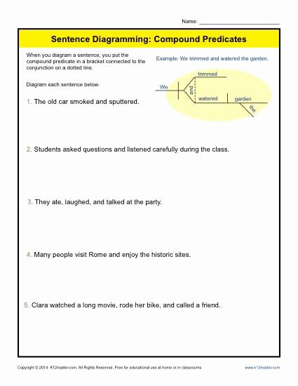 Subject Predicate Worksheet 6th Grade Phrases and Clauses Worksheets for 6th Grade with Answers