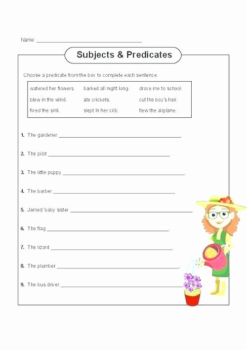 Subject Predicate Worksheet 6th Grade Pound Subjects and Predicates Worksheets Free Subject