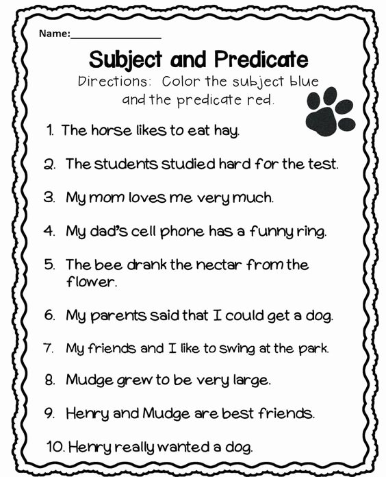 Subject Predicate Worksheet 6th Grade Renuka Renushrini On Pinterest