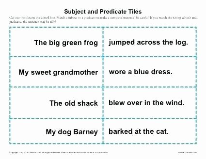 Subject Predicate Worksheet 6th Grade Subject and Predicate Tiles Grade Worksheets Subject and