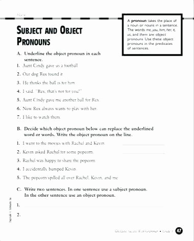 Subject Worksheets 3rd Grade Worksheet 1 Subject Pronouns and Verb T 0 Be A Fill Pronoun