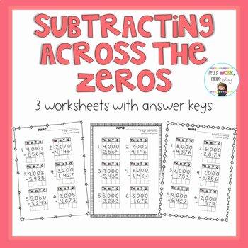 Subtracting Across Zeros Worksheet Pdf Subtracting Across Zeros Three Digit Worksheets & Teaching