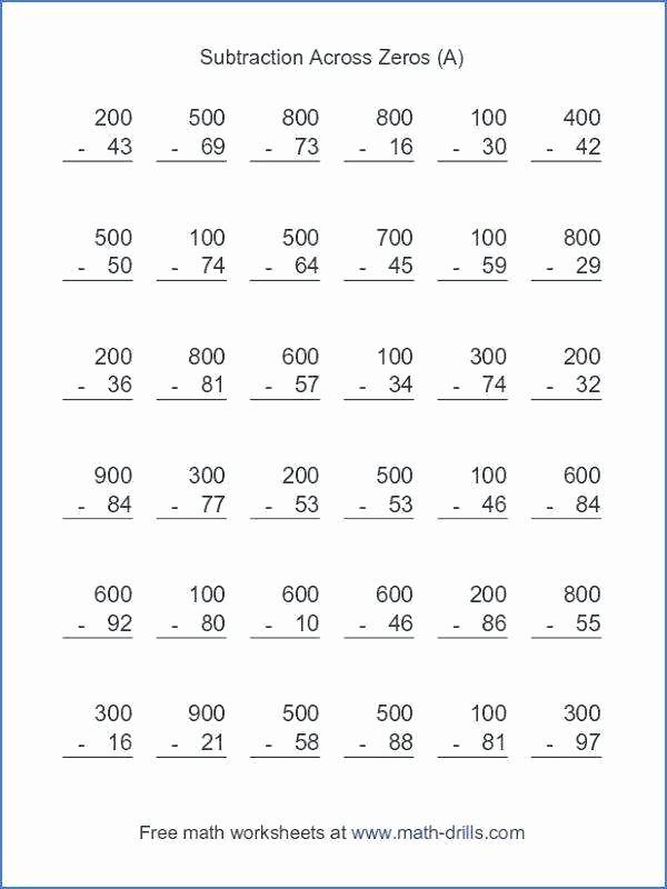 Subtracting Across Zeros Worksheet Pdf Subtraction Across Zeros Worksheet the 3 Digit Subtracting