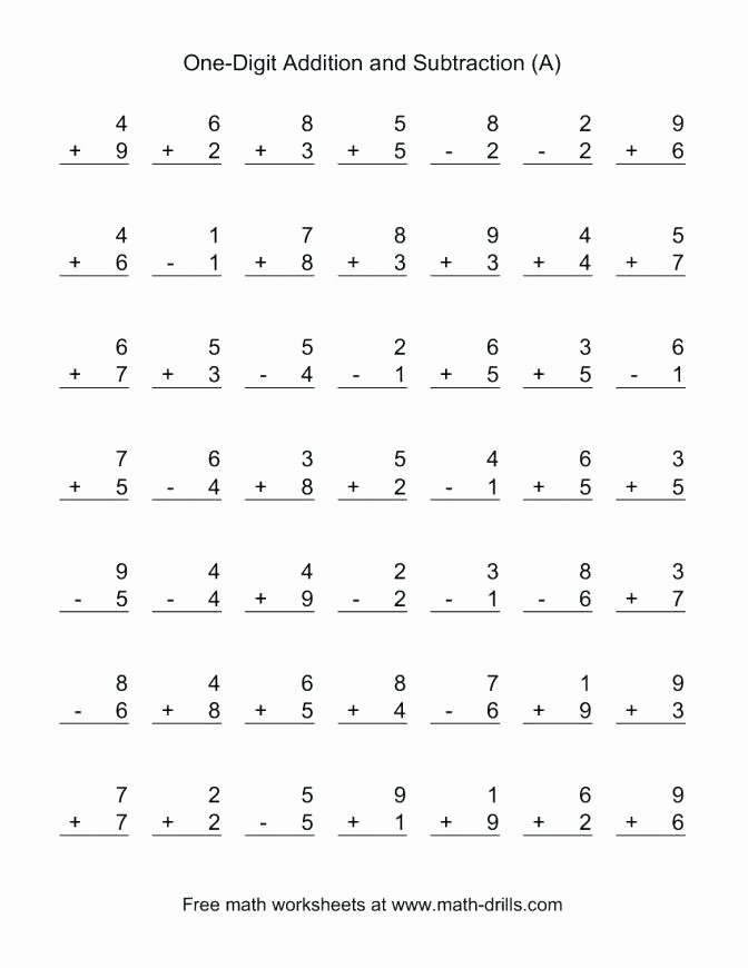Subtracting Decimals Horizontal Worksheet Size Adding and Subtracting Single Digit Numbers A