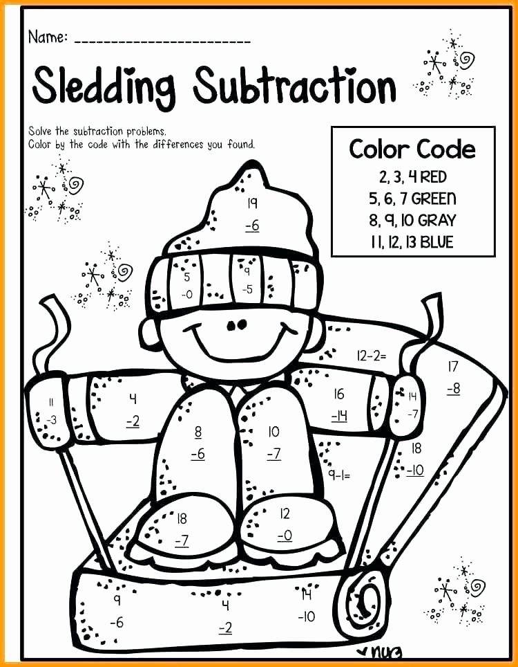 Subtraction Coloring Worksheets 2nd Grade Coloring Math Worksheets Grade Fall 2nd 2 Digit Addition