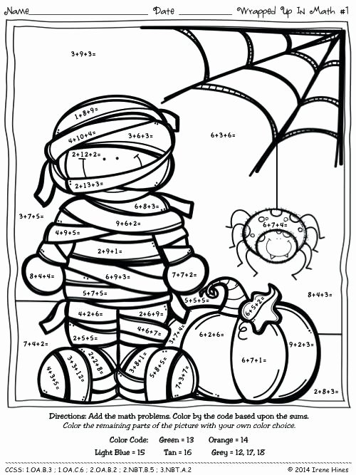 Subtraction Coloring Worksheets 2nd Grade Halloween Math Coloring – thepilotguy