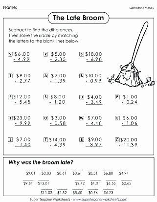 Subtraction Coloring Worksheets 2nd Grade Subtracting Money Math Riddle Math Riddle Worksheets Math