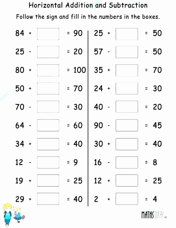 Subtraction Worksheet 1st Grade Math Worksheet First Grade Addition Subtraction Worksheets