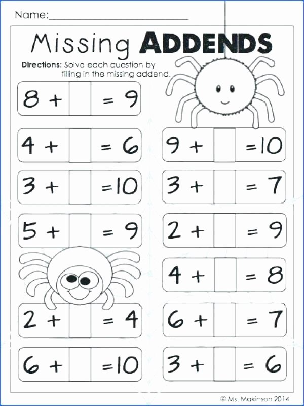 Subtraction Worksheet 1st Grade Missing Addend License Personal Use Printable Worksheets
