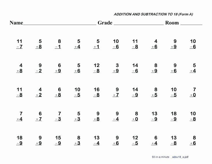 Subtraction Worksheet 1st Grade Subtraction Worksheets for 1st Grade
