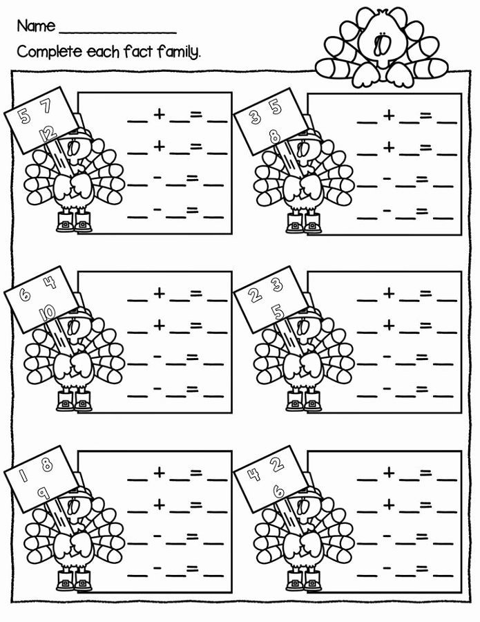 Subtraction Worksheet for 1st Grade Fact Family Worksheets for First Grade Simple