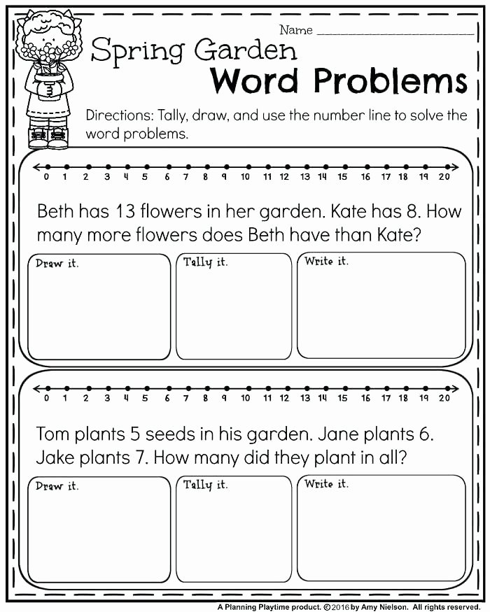 Subtraction Worksheet for 1st Grade Free First Grade Word Problems for Spring Addition and