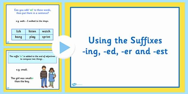 Suffix Ed Worksheet Plurals S and Es Teaching Powerpoint
