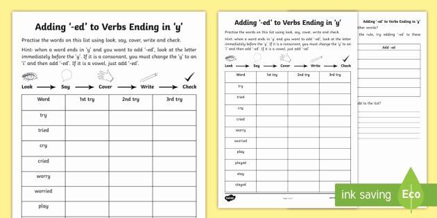 Suffix Ed Worksheets Year 2 Spelling Practice Adding Ed to Verbs Ending In Y