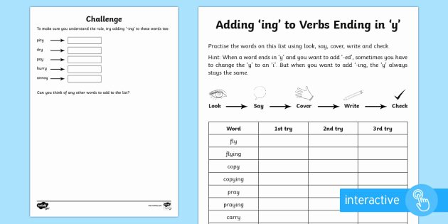 Suffix Ing Worksheets Year 2 Spelling Practice Adding Ing to Verbs Ending In Y