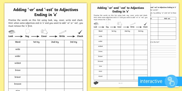 Suffix Ly Worksheet Year 2 Spelling Practice Adding Er and Est to
