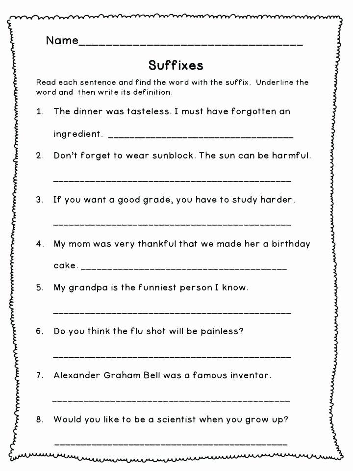 Suffix Worksheets for 4th Grade Esl Prefixes and Suffixes Worksheets Prefix Suffix Grade