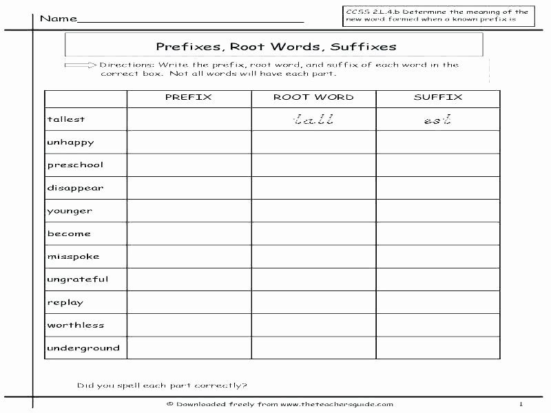 Suffix Worksheets for 4th Grade Suffix Worksheets 5th Grade