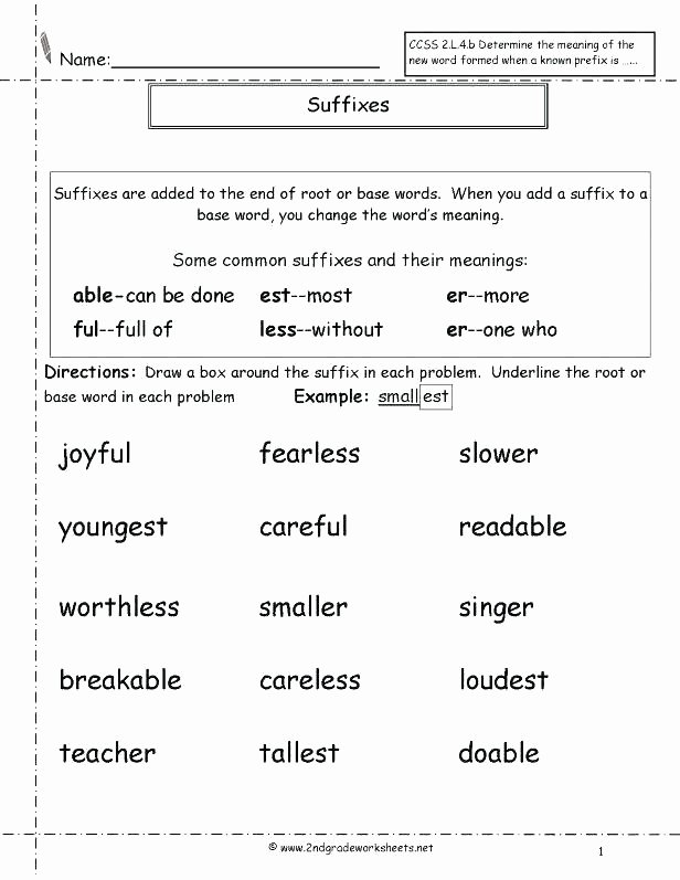 Suffix Worksheets Middle School Prefixes Worksheets and Suffixes Grade Second Activity Root