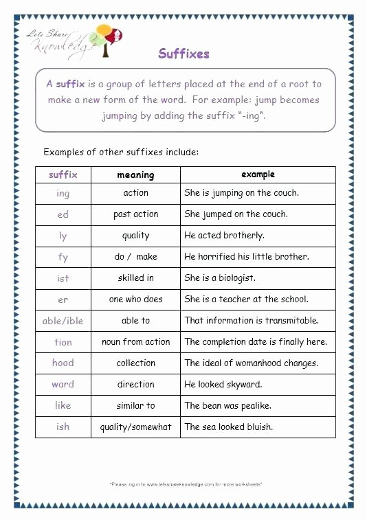 Suffix Worksheets Middle School Suffix Worksheets 5th Grade