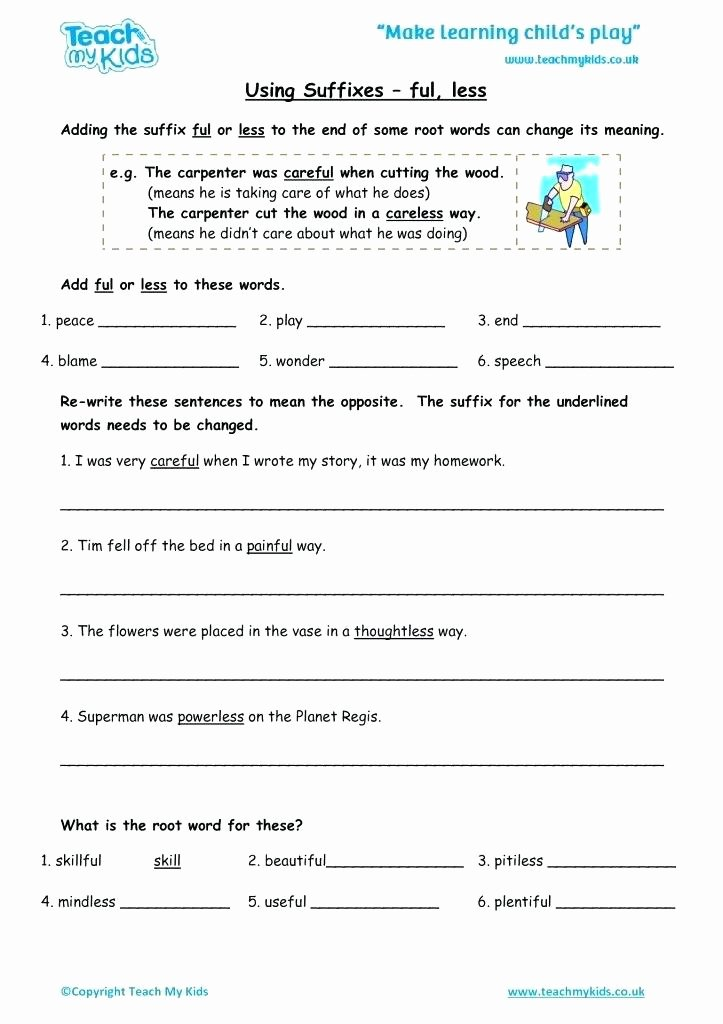 Suffixes Ly and Ful Worksheets Awesome Suffixes and Worksheets Less Free Suffix Ful