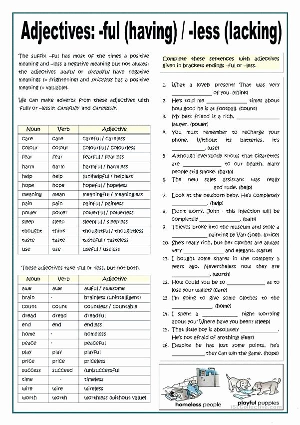 Suffixes Ly and Ful Worksheets Best Of Less 2 Suffix Worksheets Ful Ly