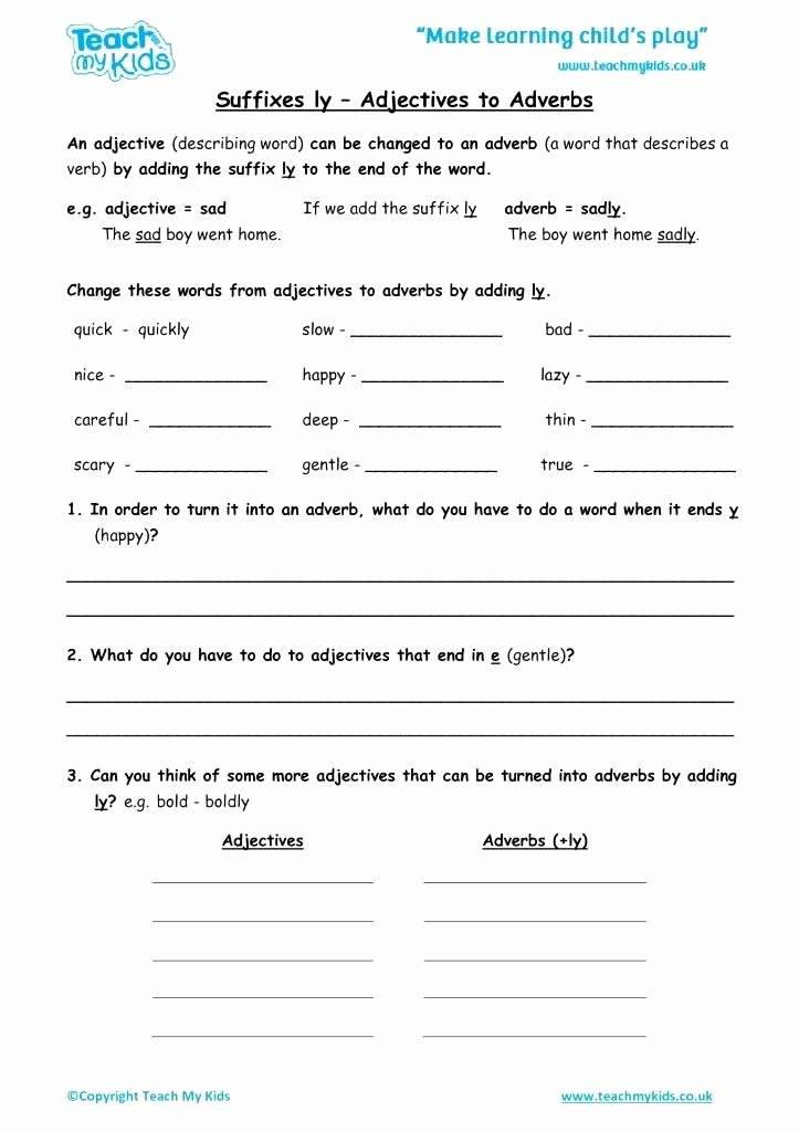 Suffixes Ly and Ful Worksheets Lovely Worksheets for Kids Suffixes Adjectives to Adverbs Suffix Ly