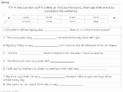Suffixes Worksheet 3rd Grade Suffixes and Less Worksheets Ly Ful for 5th Grade Free