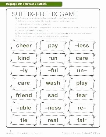 Suffixes Worksheets 4th Grade Free Printable Grade Worksheets Language Arts Activities